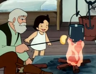 暖炉であぶって